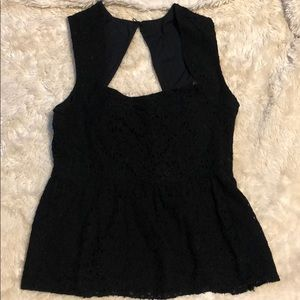 Anthropologie black lace  peplum top, size 12